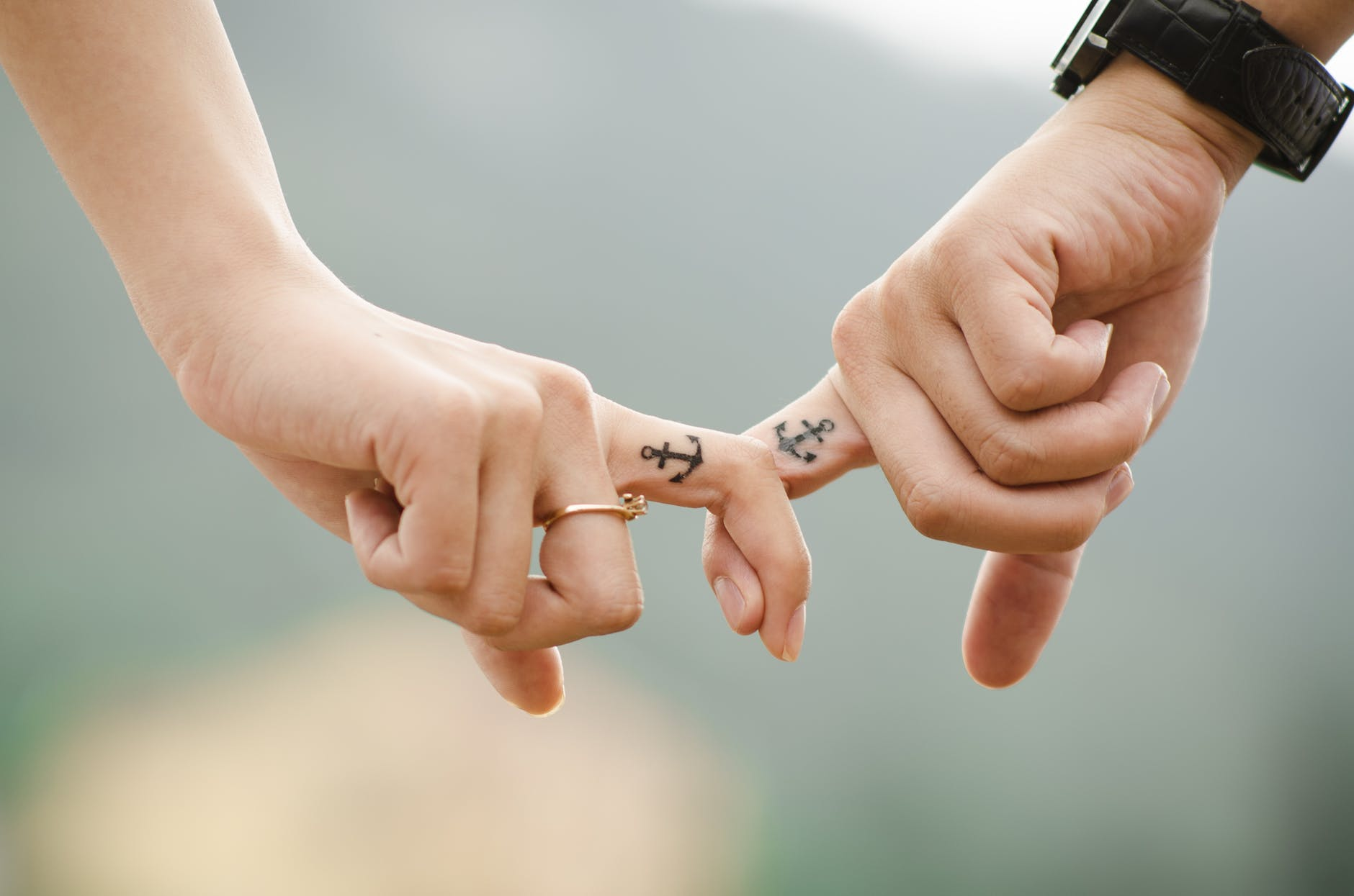 anchor couple fingers friends
