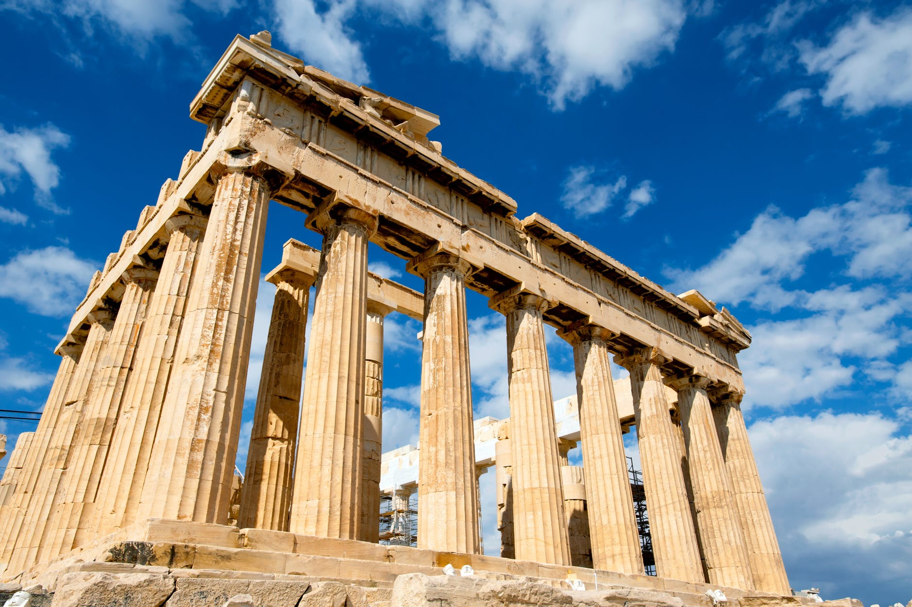 low angle photograph of the parthenon during daytime